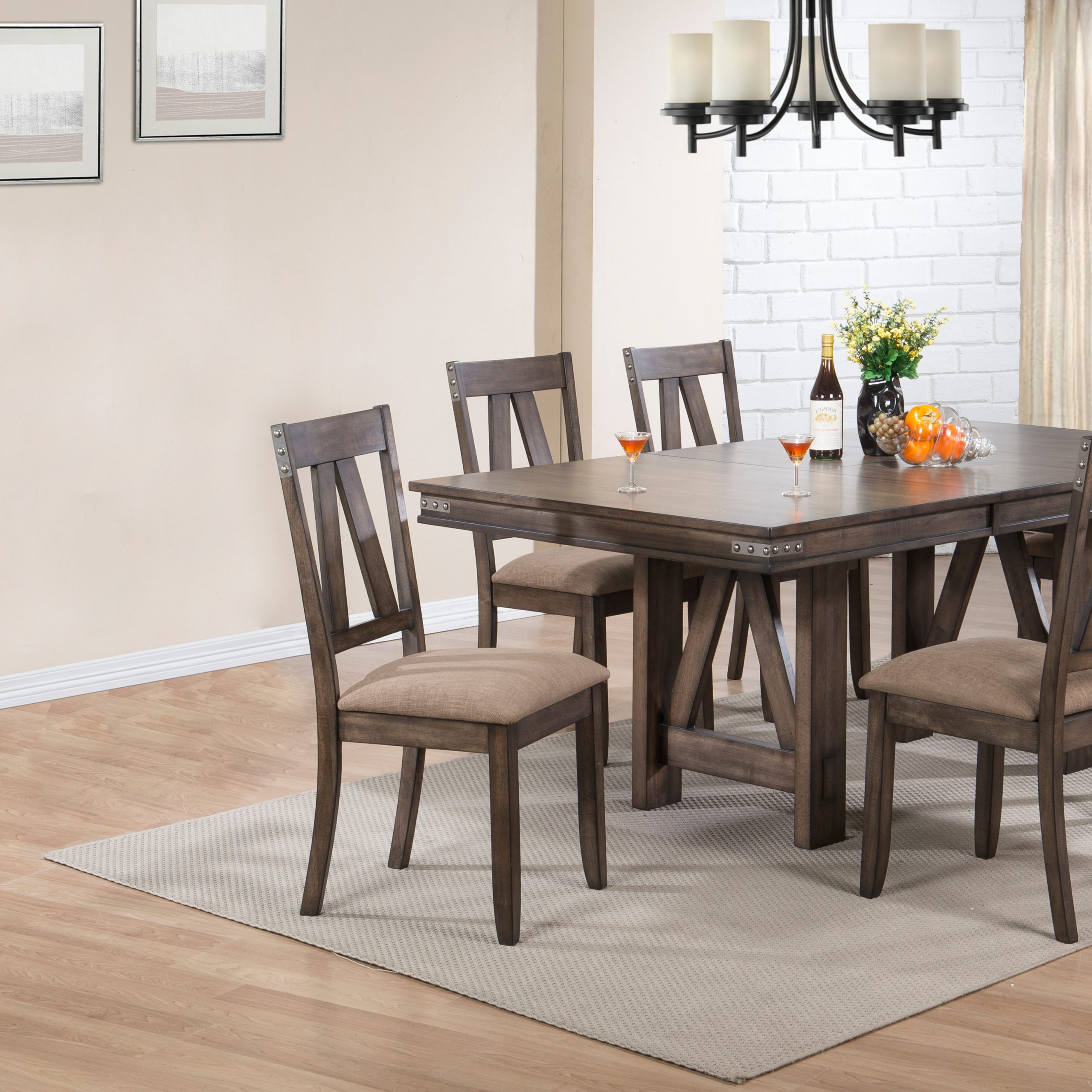 Nets 7 Piece Formal Dining Room Set, Brown Wood Throughout Best And Newest Tudor City 28'' Dining Tables (View 14 of 15)