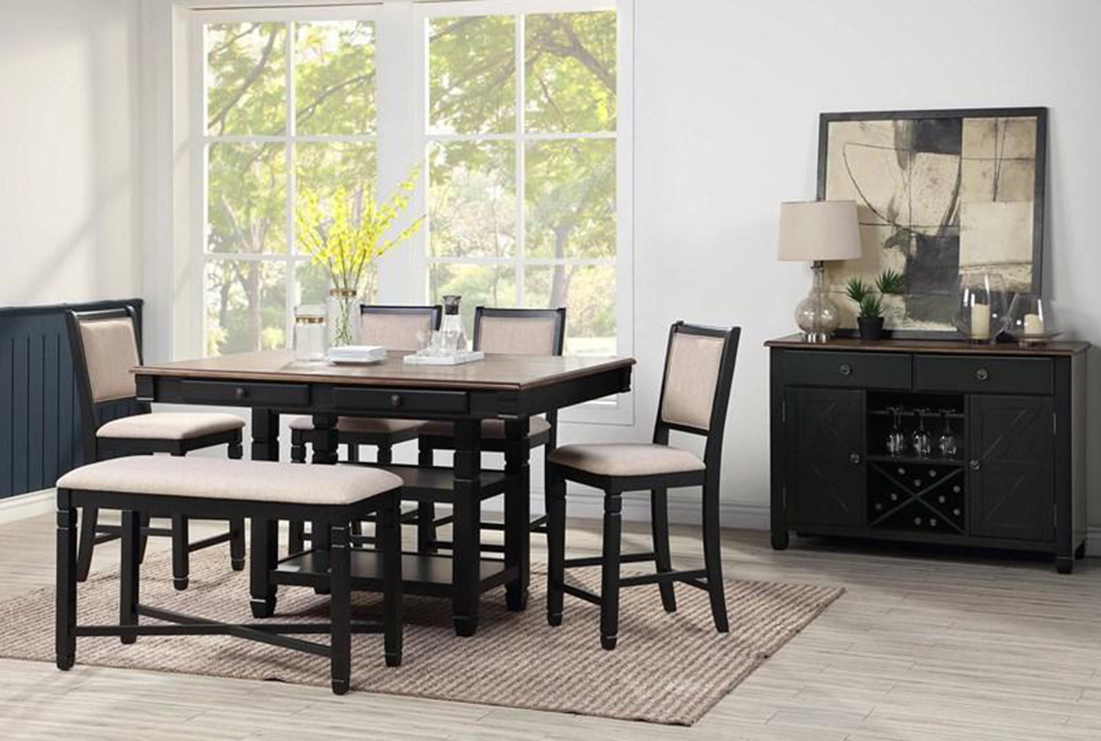 New Classic Furniture Prairie Point 7Pc Rectangular In Current Dallin Bar Height Dining Tables (Photo 12 of 15)