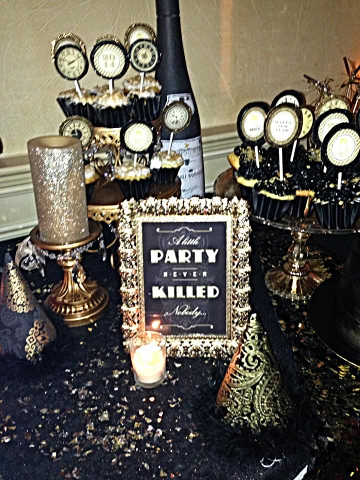 New Years Eve  Black And Gold Theme Dessert Table | New Pertaining To Most Up To Date Candie  (View 14 of 15)