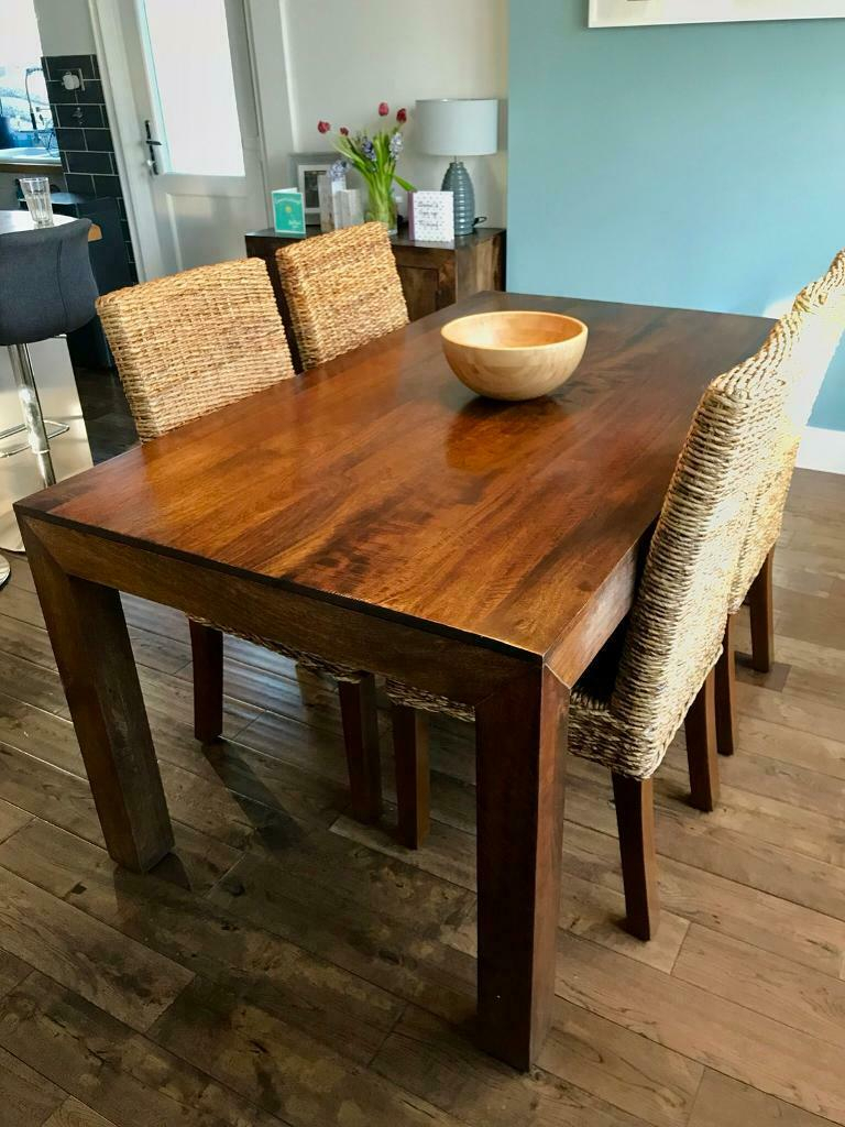 Next Dakota Solid Mango Wood 6 Seater Dining Table With 4 With Most Up To Date Alfie Mango Solid Wood Dining Tables (View 12 of 15)