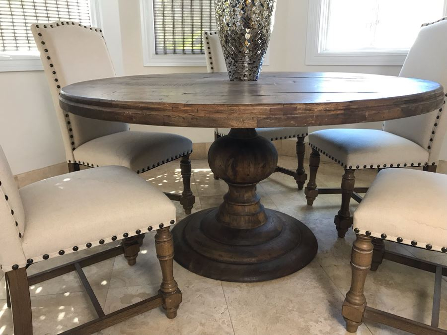 Nice Turned Wooden Pedestal Table 5'R X 31.5'H With (5 In Recent Granger 31.5'' Iron Pedestal Dining Tables (Photo 2 of 15)