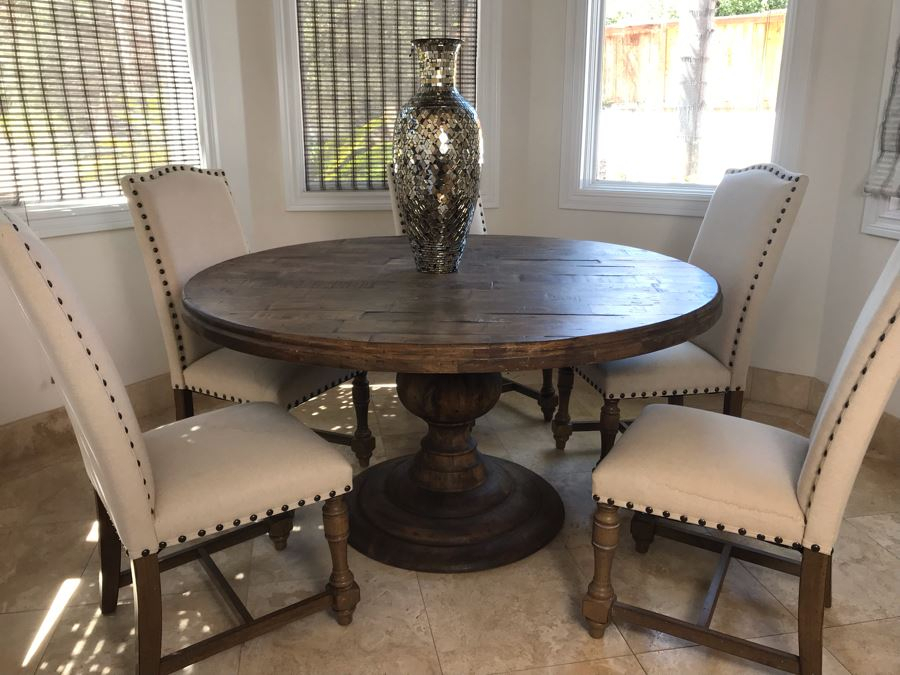 Nice Turned Wooden Pedestal Table 5'R X 31.5'H With (5 Pertaining To Current Granger  (View 4 of 15)