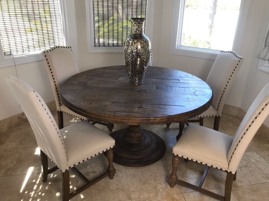 Nice Turned Wooden Pedestal Table 5'R X 31.5'H With (5 Within Most Current Granger  (View 6 of 15)