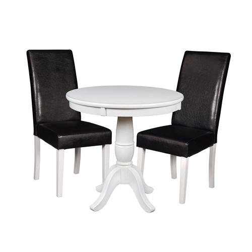 """Niche Mod 30"""" Round Pedestal Table White & 2 Tyler Dining With Regard To 2018 Steven 55'' Pedestal Dining Tables (View 14 of 15)"""