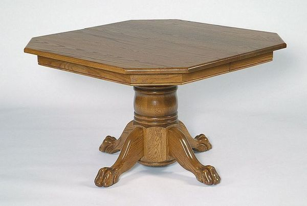Oak Wood Single Pedestal Dining Table From Dutchcrafters Amish Within Most Current Exeter 48'' Pedestal Dining Tables (Photo 11 of 15)
