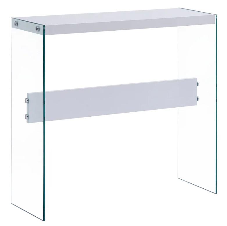 """Octane – Console Bois Blanc Brillant Et Verre Trempé With Regard To 2018 Mode 72"""" L Breakroom Tables (View 8 of 15)"""