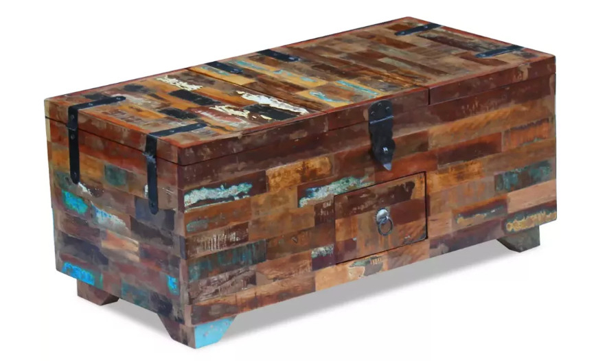 """Octane – Table Basse Rectangulaire Avec Coffre Bois Massif In Newest Mode 72"""" L Breakroom Tables (View 15 of 15)"""