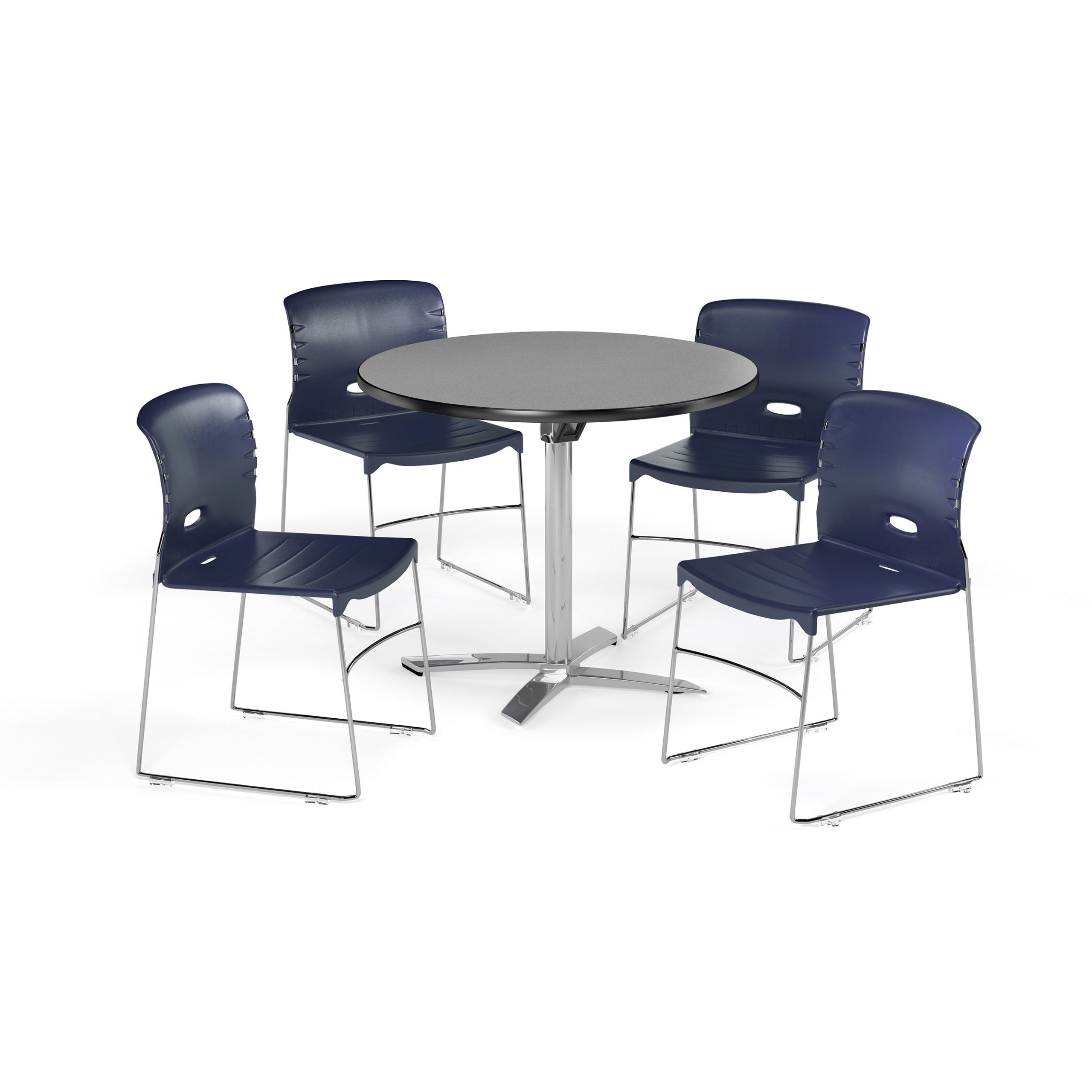 """Ofm 36 Inch Round Multi Purpose Flip Top Table With 4 Within 2017 Bentham 47"""" L Round Stone Breakroom Tables (View 7 of 15)"""