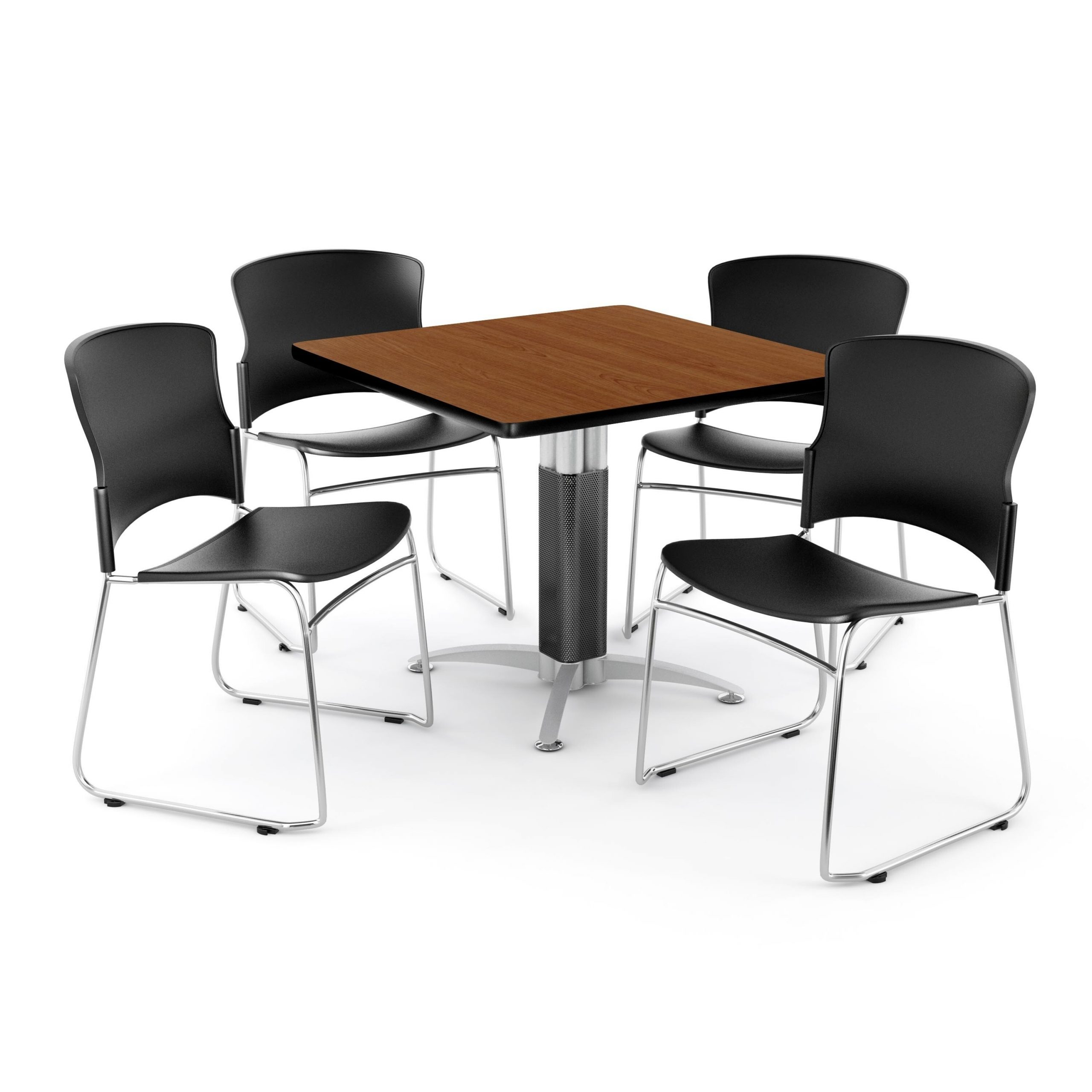 """Ofm Cherry 36 Inch Square Mesh Base Table With 4 Plastic Intended For Most Up To Date Bentham 47"""" L Round Stone Breakroom Tables (View 8 of 15)"""
