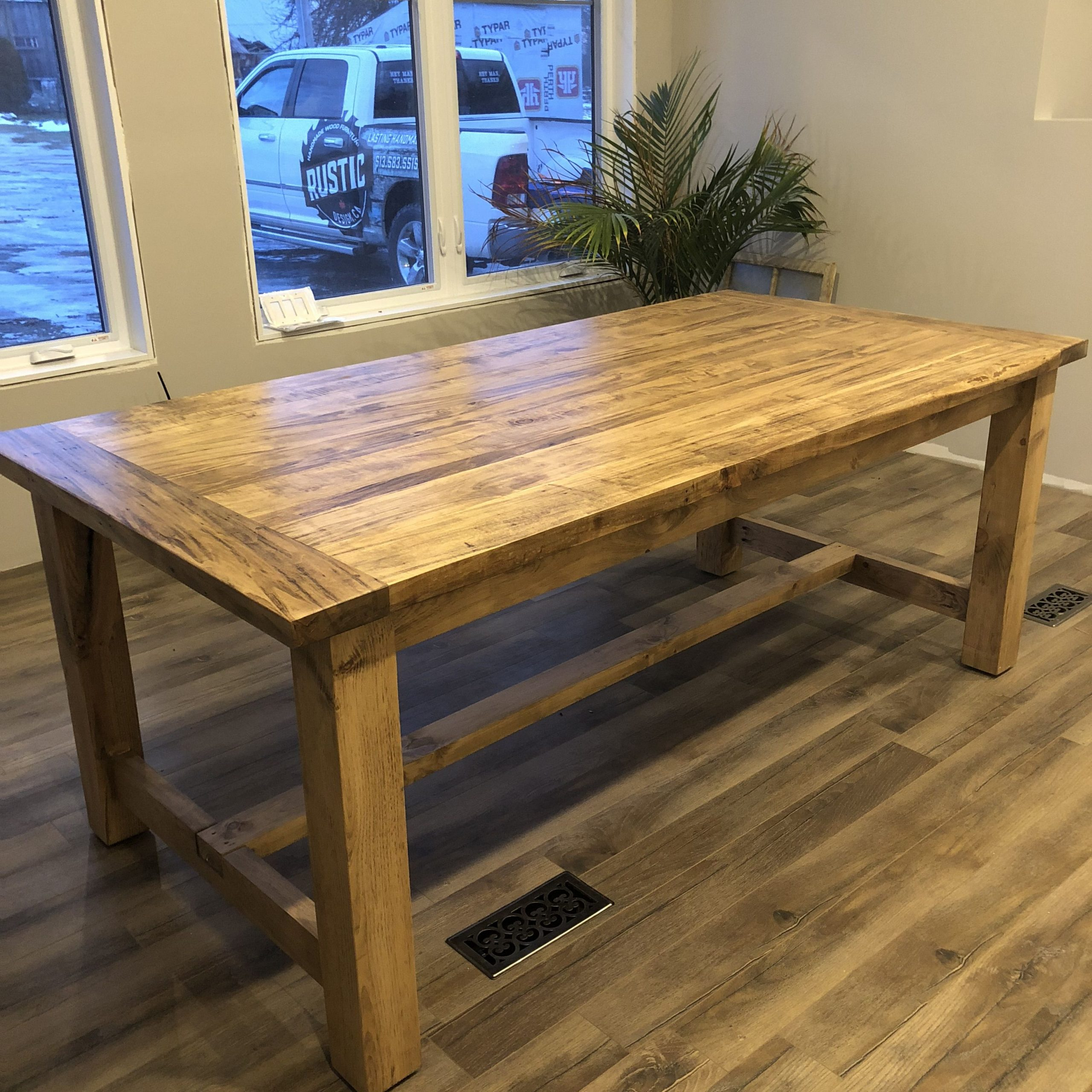 Our Classic Farm Style Table Features A 4 Post Pine Base Throughout Most Up To Date Geneve Maple Solid Wood Pedestal Dining Tables (View 6 of 15)