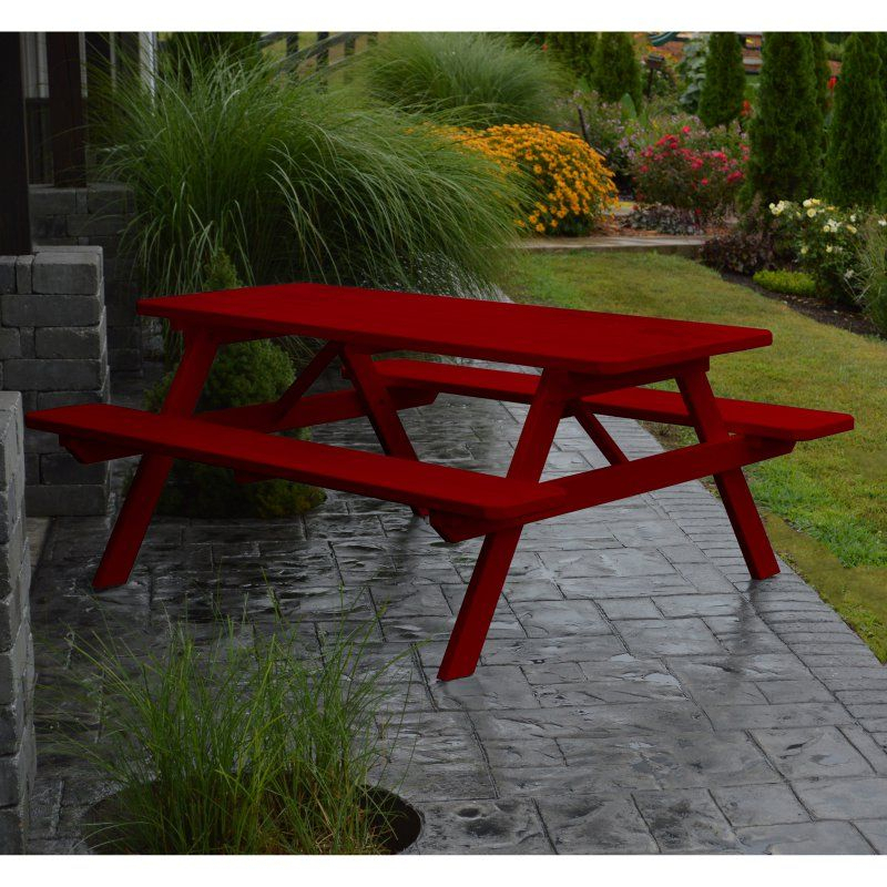 Outdoor A & L Furniture Yellow Pine Picnic Table With Inside Recent Lewin Dining Tables (View 12 of 15)