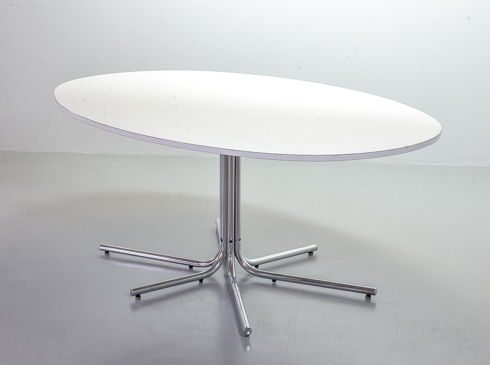 Oval Dining Table White Formica Tabletop And Chrome Steel Within Newest Kohut 47'' Pedestal Dining Tables (View 8 of 15)