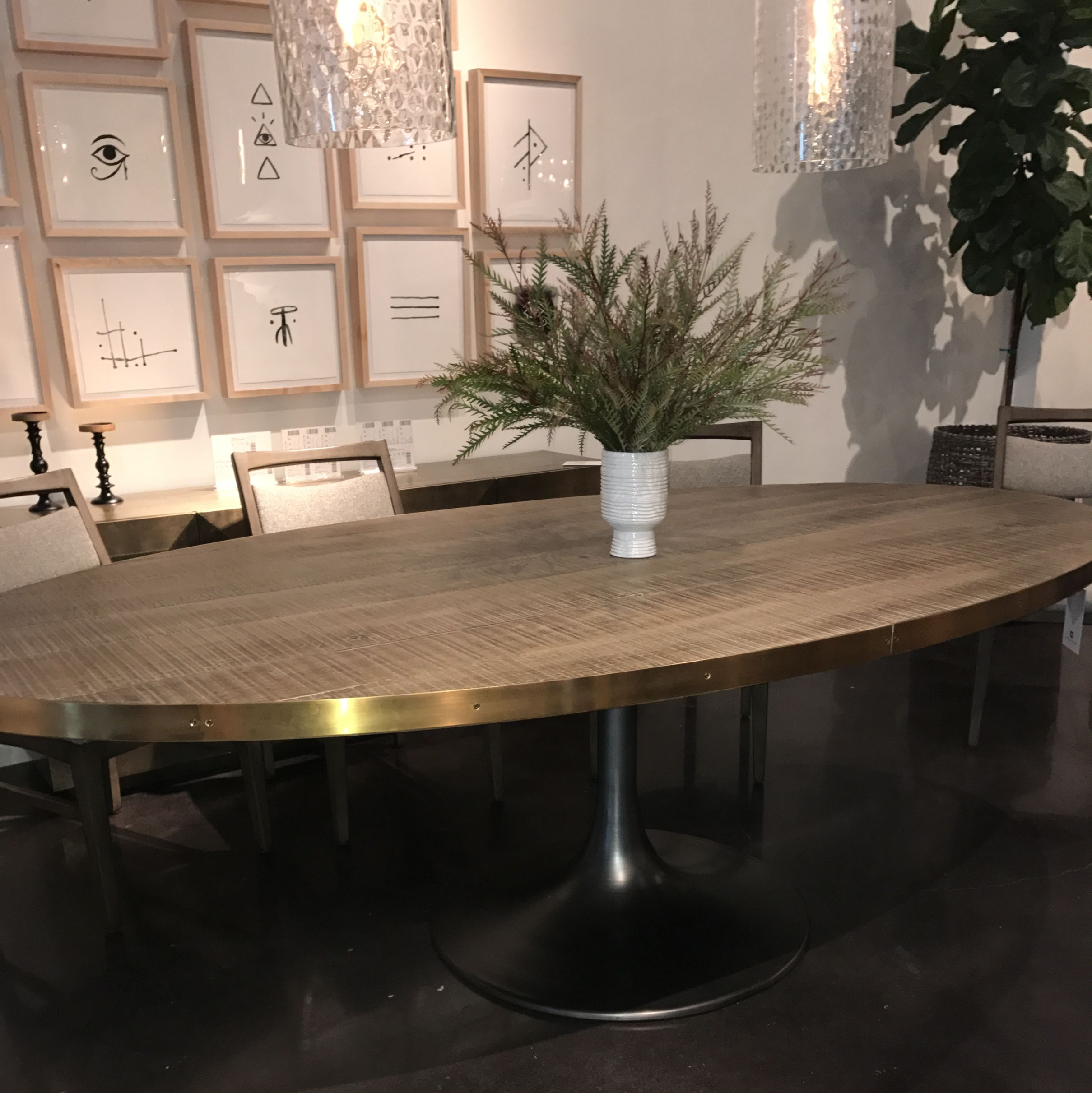 Oval Iron Oak And Brass Tulip Base Dining Table – Mecox Pertaining To Latest Naz  (View 5 of 15)