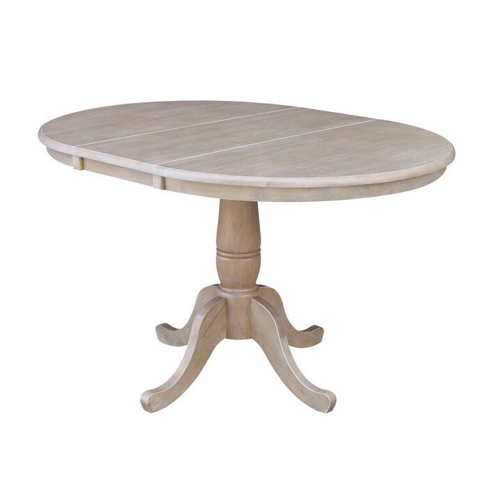 Overbay Extendable Solid Wood Dining Table In 2020   Solid In Most Popular Boothby Drop Leaf Rubberwood Solid Wood Pedestal Dining Tables (View 6 of 15)