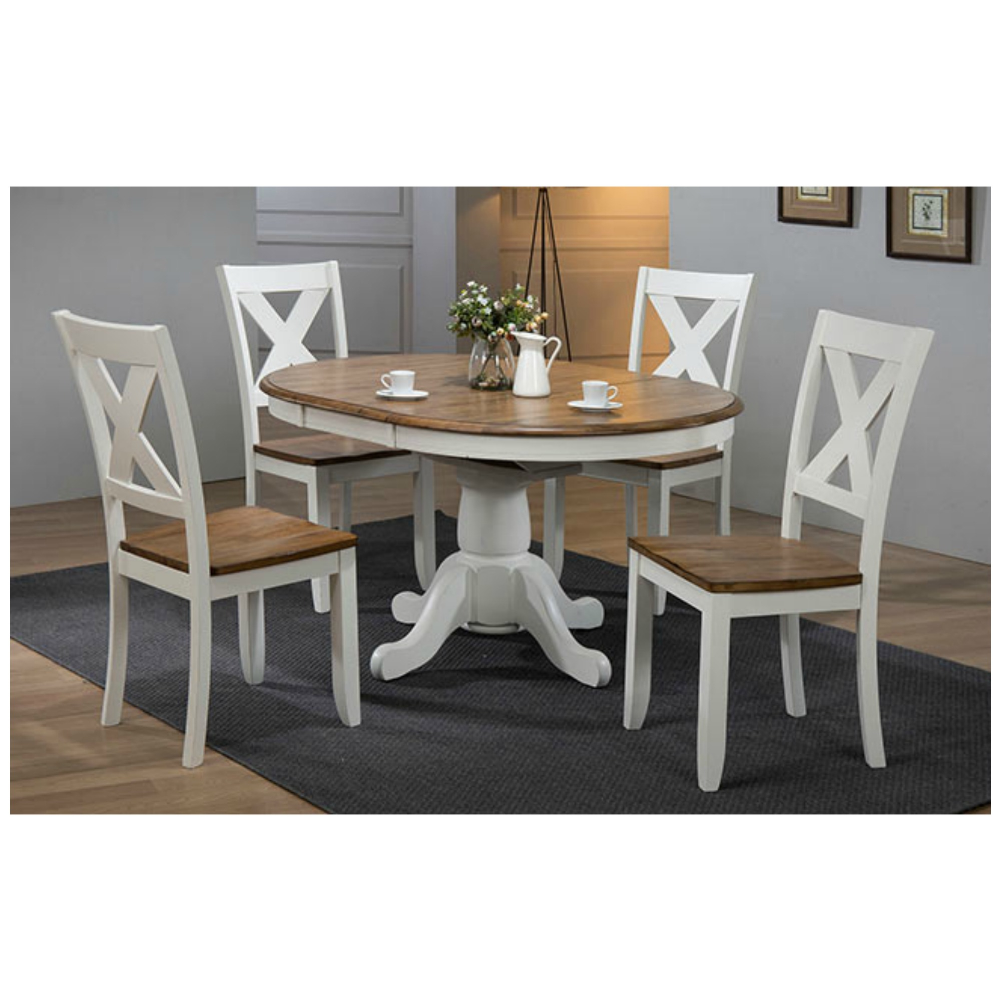 Pacifica 5 Piece Dining Set (Rustic Brown/White) With Best And Newest Villani Drop Leaf Rubberwood Solid Wood Pedestal Dining Tables (View 7 of 15)