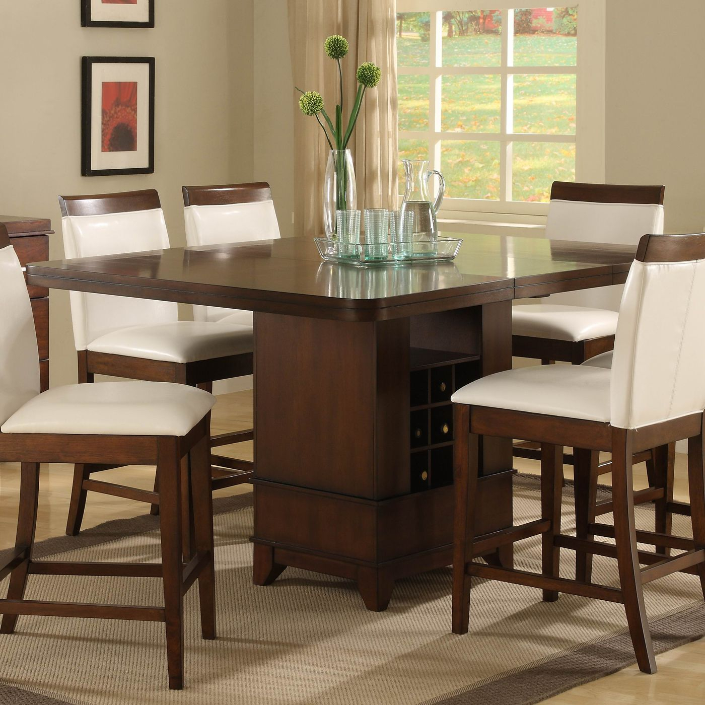 Pedestal Table Elmhurst Counter Height Dining Table, Brown Pertaining To Best And Newest Barra Bar Height Pedestal Dining Tables (View 12 of 15)