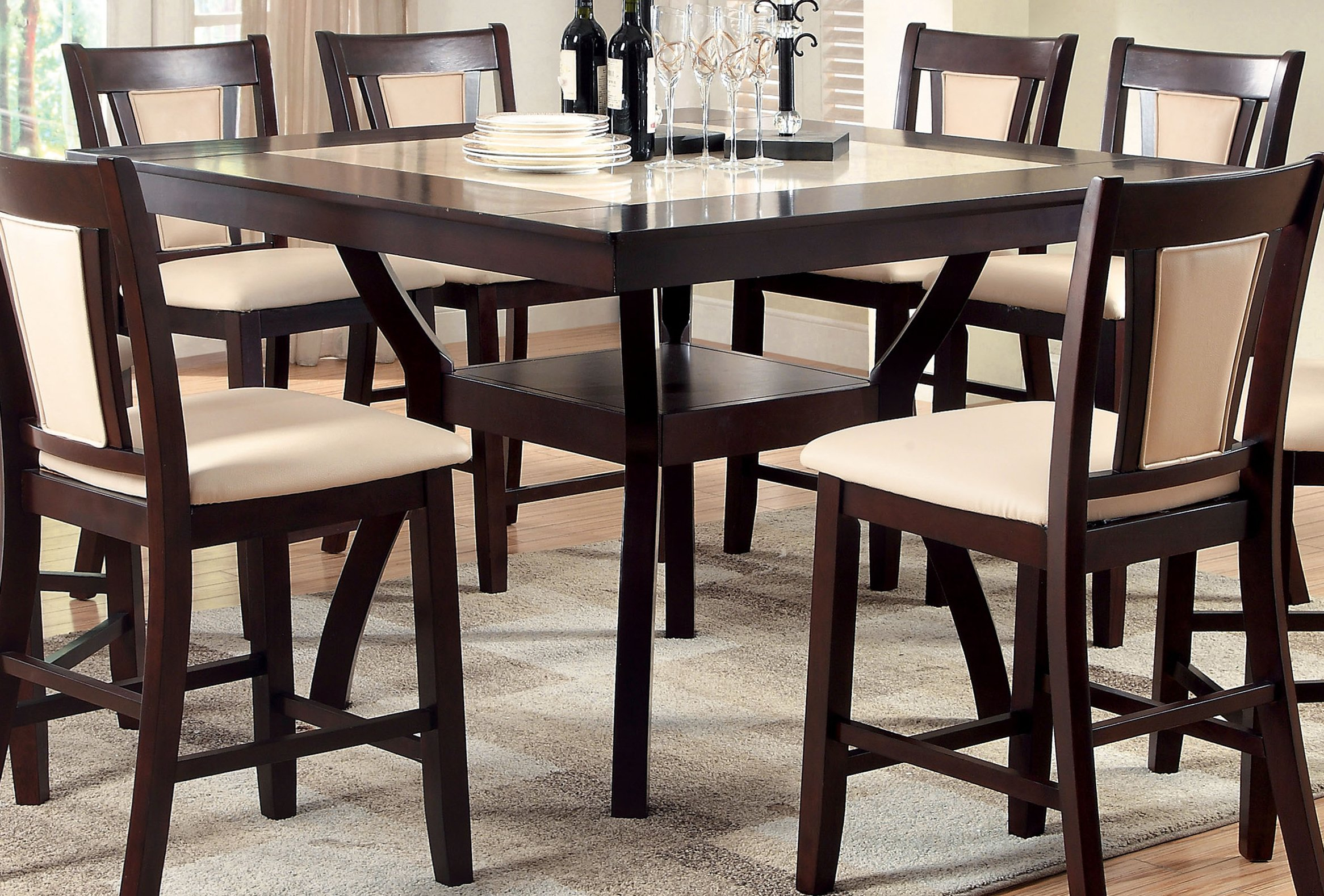 Persa Contemporary Faux Marble Counter Height Table In Most Current Andrelle Bar Height Pedestal Dining Tables (View 8 of 15)
