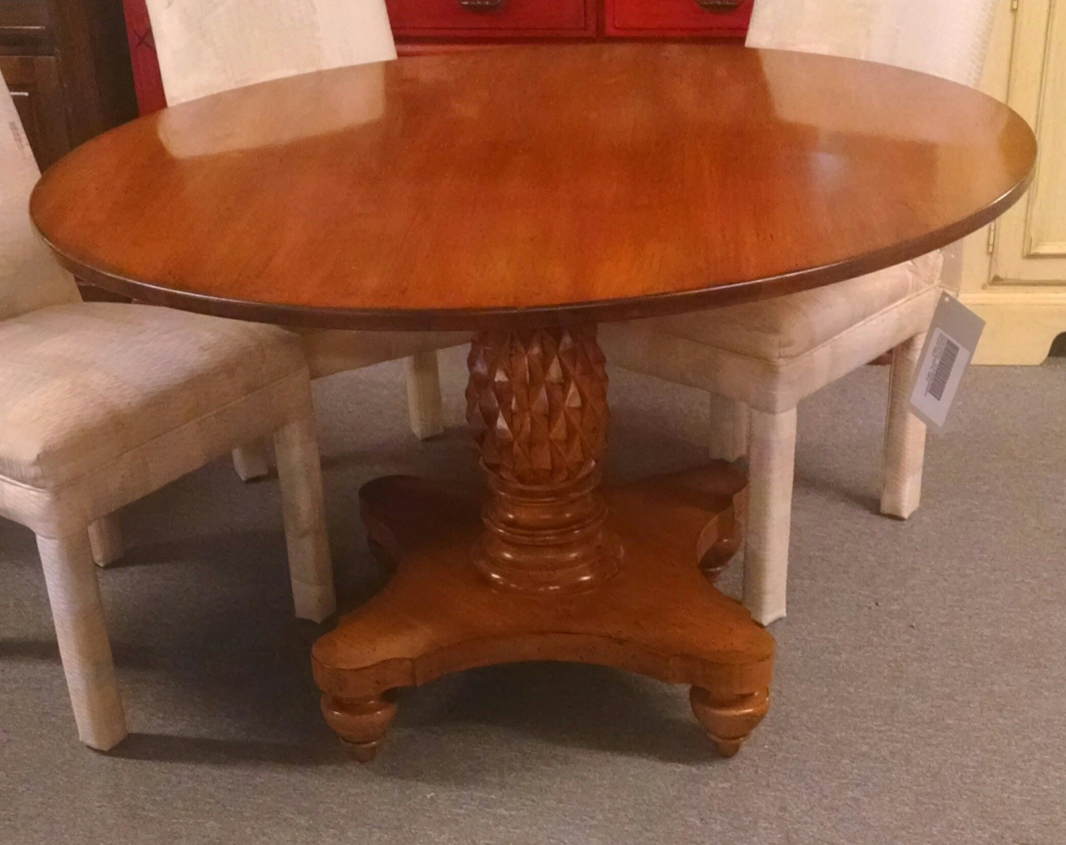 Pineapple Pedestal Table | Delmarva Furniture Consignment For Most Up To Date Jazmin Pedestal Dining Tables (View 4 of 15)