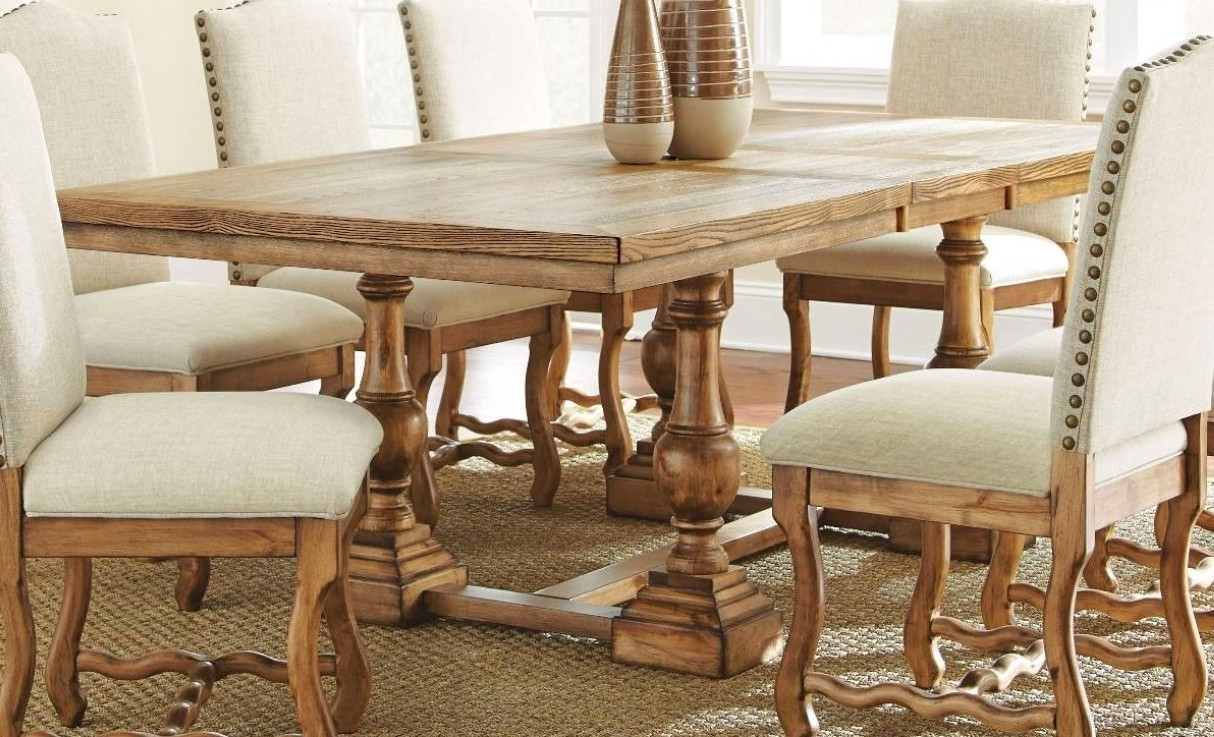 Plymouth Rustic Elm Trestle Dining Table In Burnished Oak Within Most Up To Date Nerida Trestle Dining Tables (Photo 7 of 15)