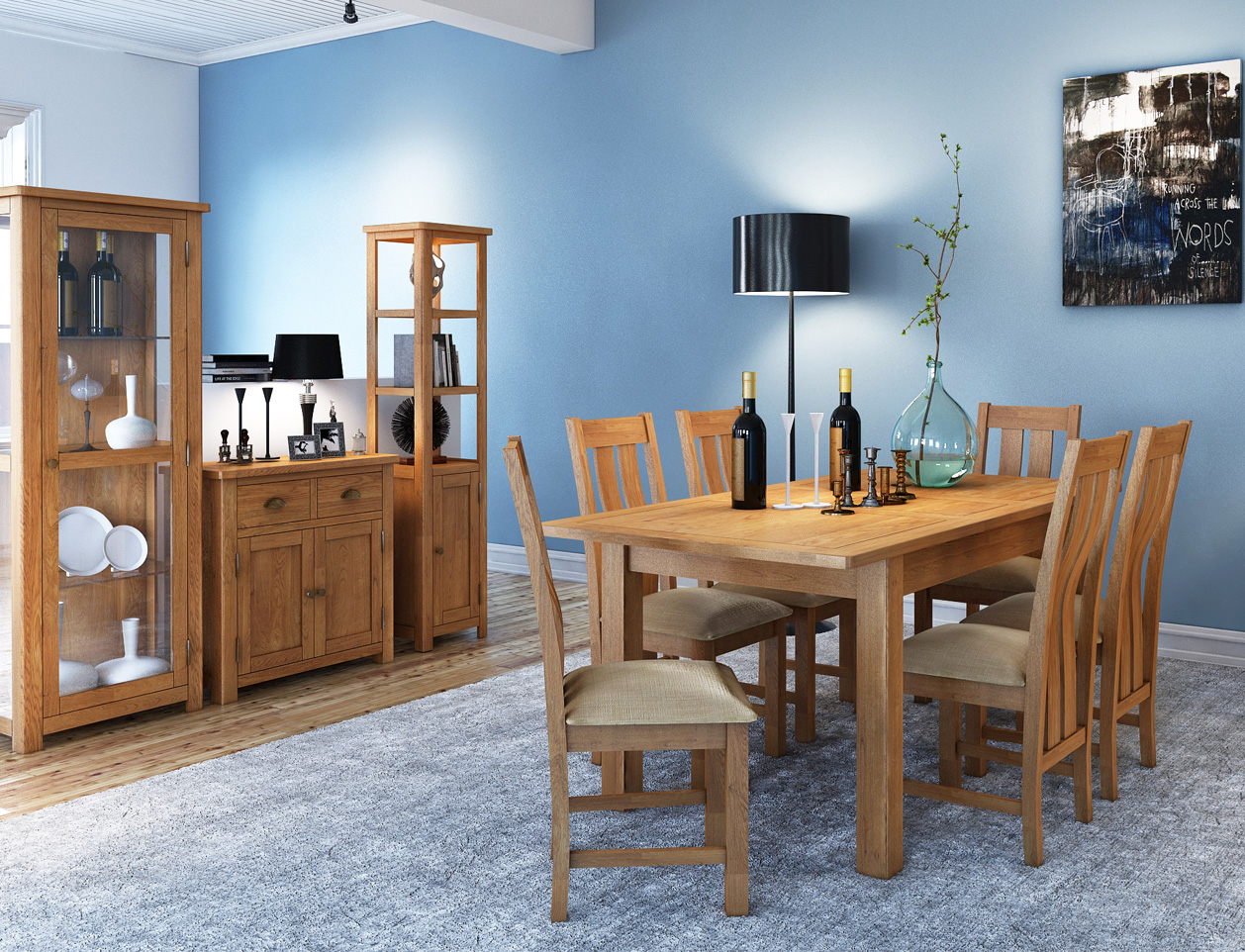 Portland Oak 4Ft 7 Extending Dining Table Set   Wax Finish For Most Recent Akitomo (View 12 of 15)