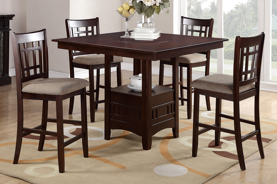 Poundex, 5Pcs Wooden Counter Height Dining Table Set Throughout 2018 Overstreet Bar Height Dining Tables (View 6 of 15)