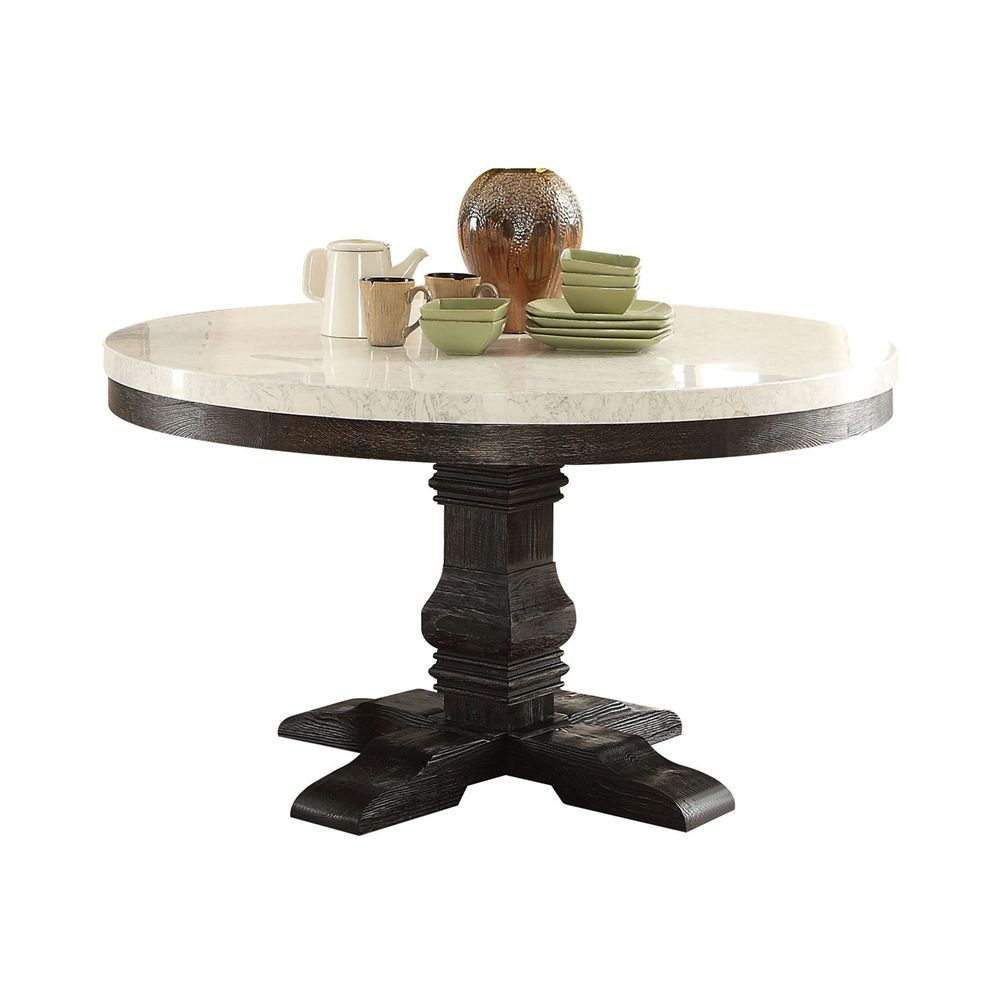 "Prescott 54"" Round White Marble Top Pedestal Dining Table For Newest Serrato Pedestal Dining Tables (View 12 of 15)"