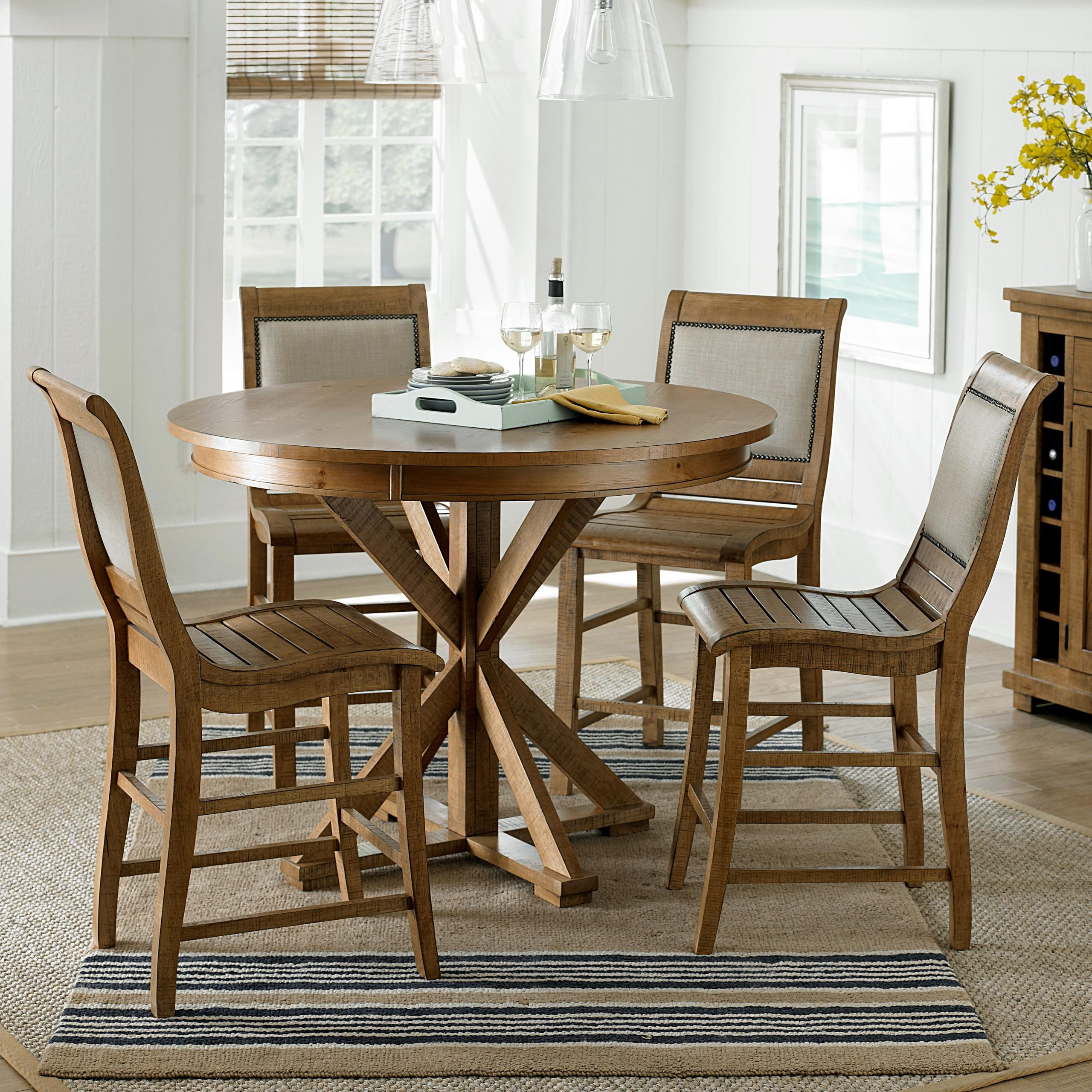 Progressive Furniture Willow Dining 5 Piece Round Counter Throughout 2017 Pennside Counter Height Dining Tables (View 12 of 15)