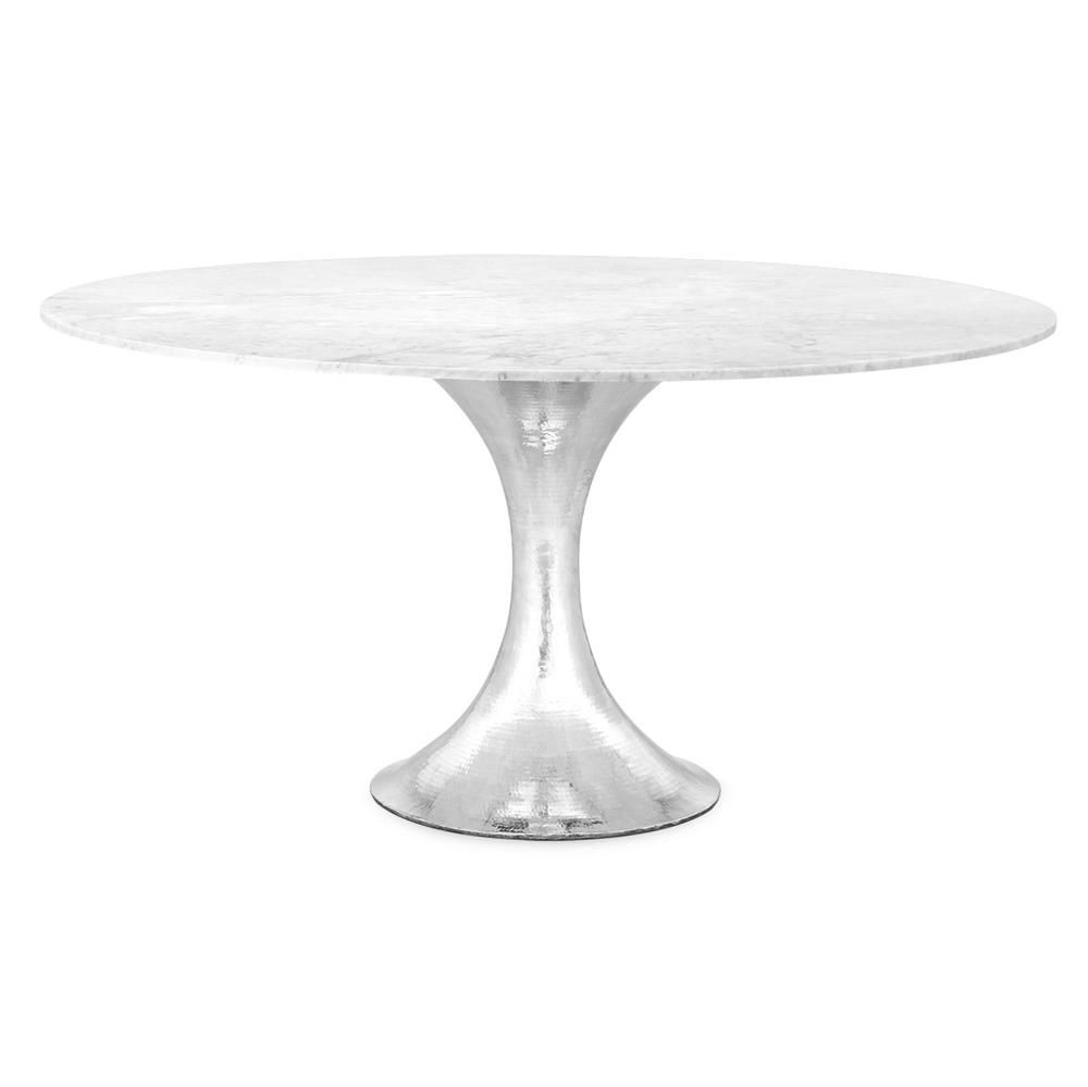 Quinton Silver Tulip White Marble Round Dining Table – 60 Pertaining To Recent Steven 55'' Pedestal Dining Tables (View 6 of 15)