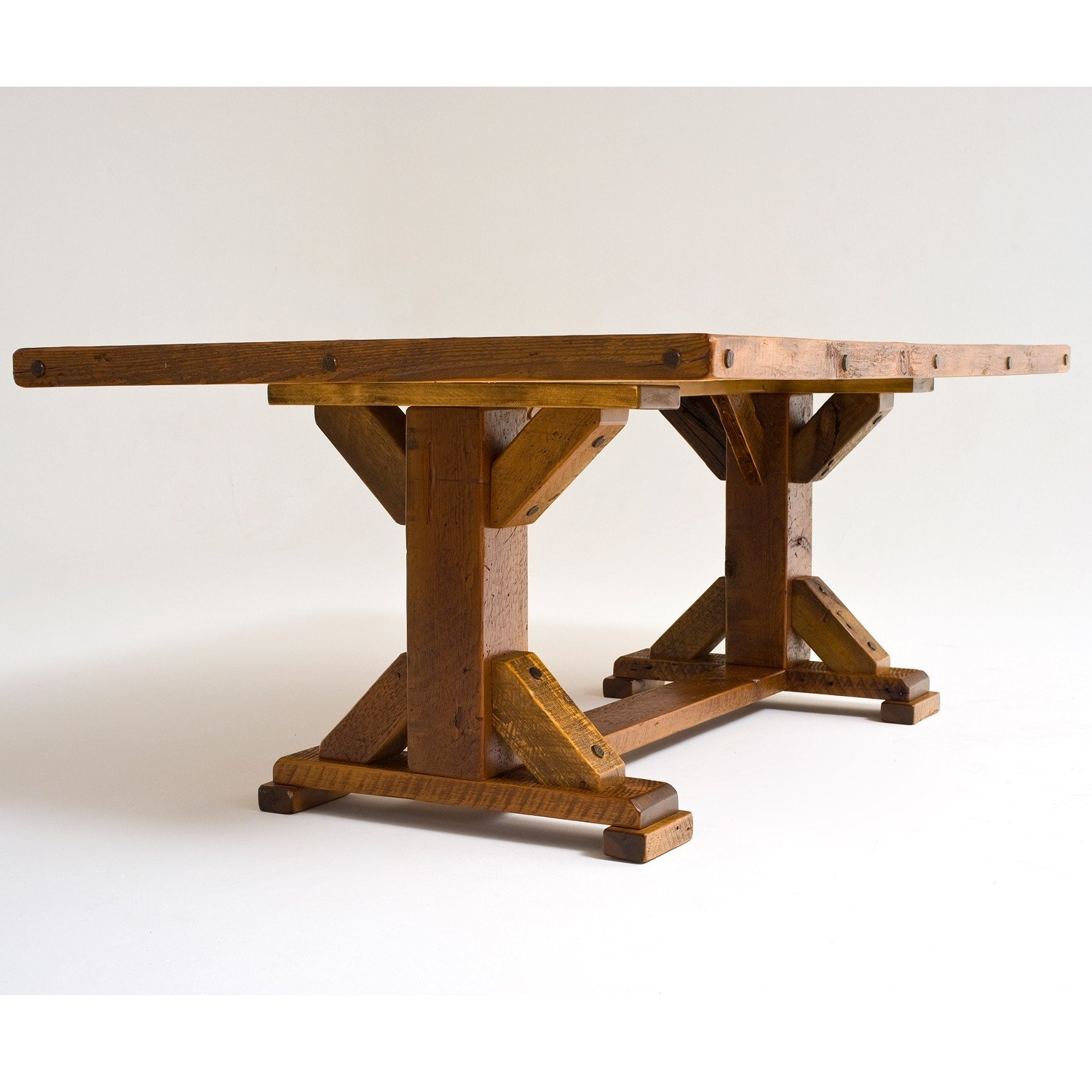 Reclaimed Barn Wood Trestle Base Dining Table Throughout Most Current Trestle Dining Tables (Photo 14 of 15)