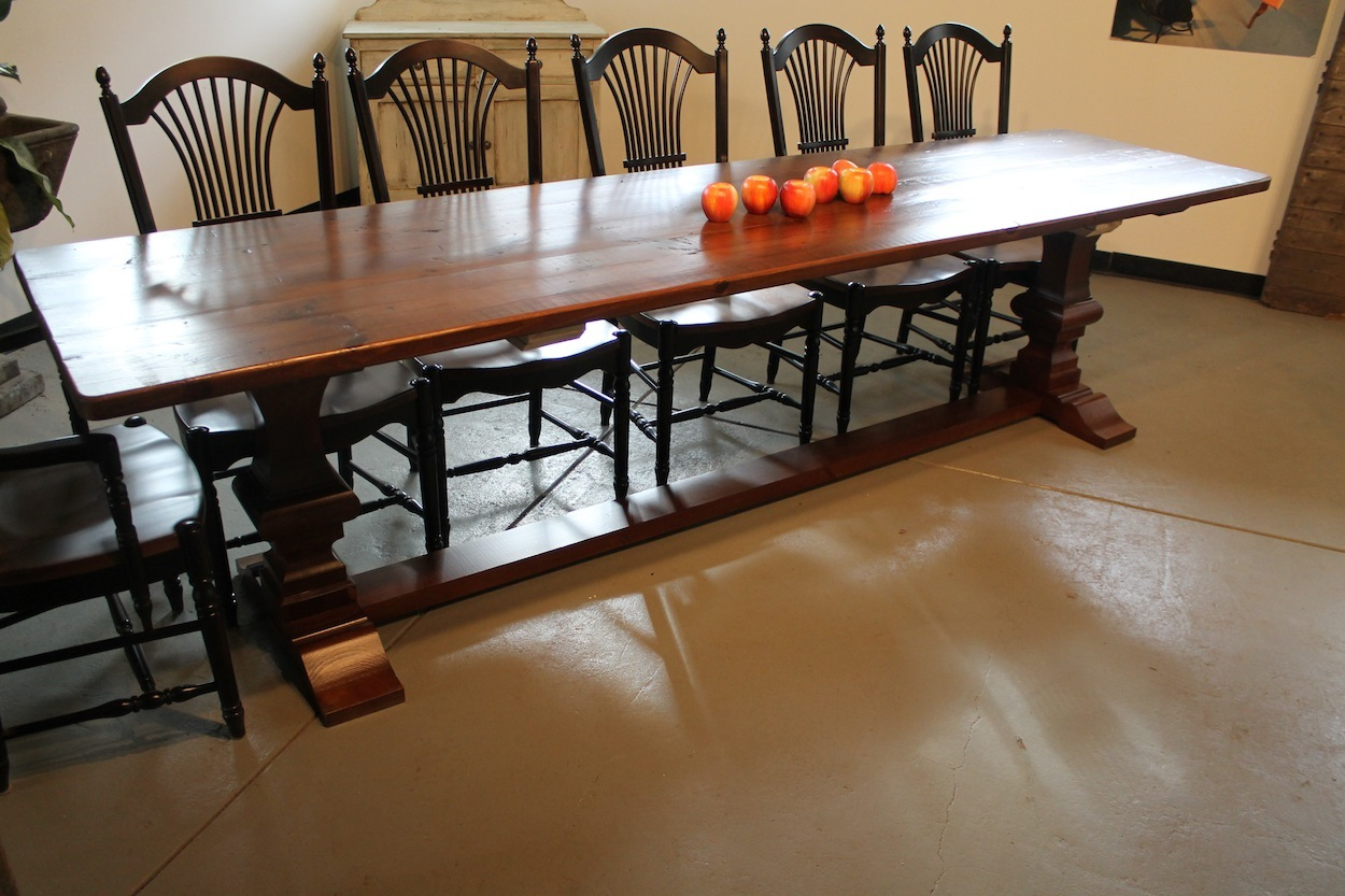 Reclaimed Dining Table With Venetian Trestle Base Intended For Most Up To Date Kara Trestle Dining Tables (View 15 of 15)