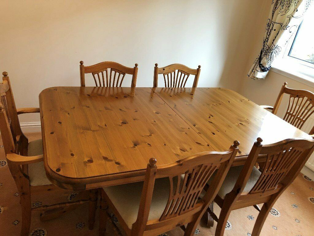 Reduced Price – Ducal Solid Pine Dining Table And 6 Chairs Within Recent Febe Pine Solid Wood Dining Tables (View 6 of 15)