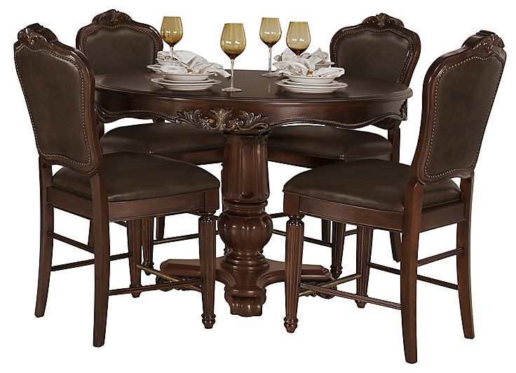 Regal Dark Tone Round High Table & 4 Leather Barstools Pertaining To Latest Tudor City 28'' Dining Tables (Photo 7 of 15)