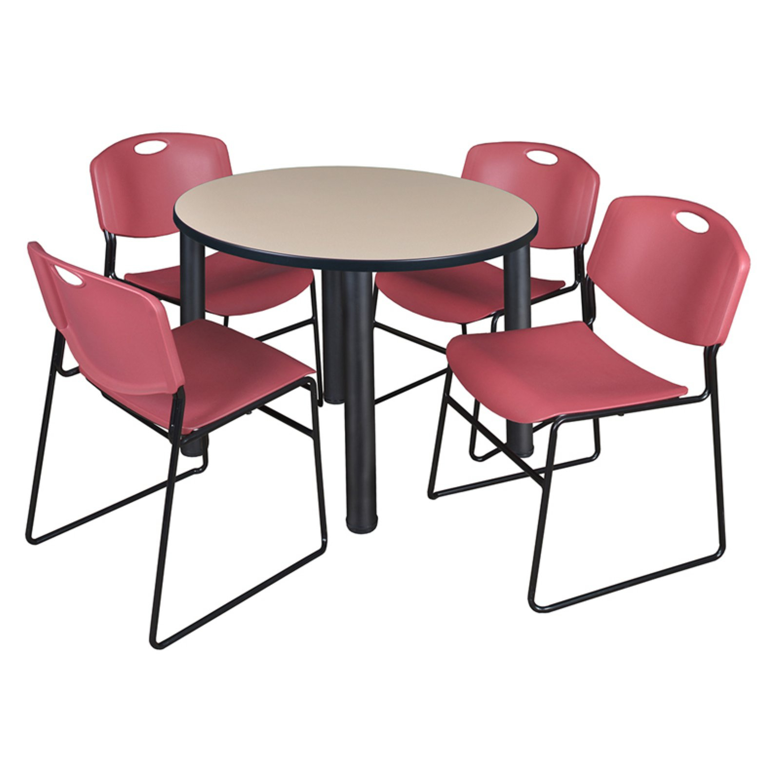Regency Kee Round Beige Breakroom Table With 4 Stackable Throughout Most Recently Released Round Breakroom Tables And Chair Set (View 11 of 15)