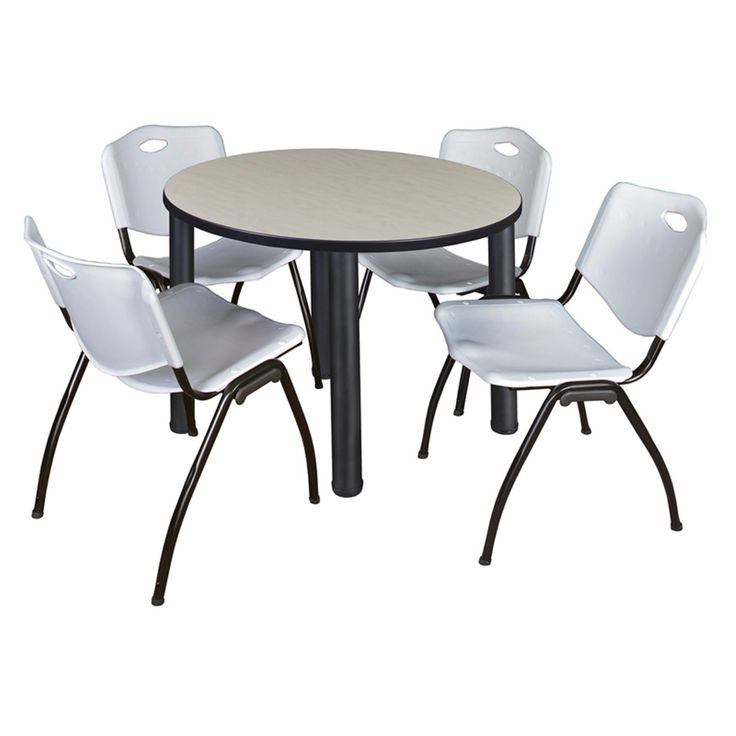 Regency Kee Round Maple Breakroom Table With 4 Stackable M Inside Most Recently Released Round Breakroom Tables And Chair Set (View 13 of 15)
