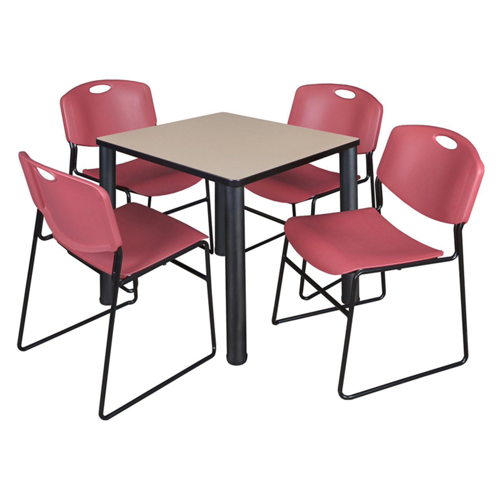 Regency Kee Square Beige Breakroom Table With 4 Stackable For Most Recent Mode Square Breakroom Tables (View 11 of 15)