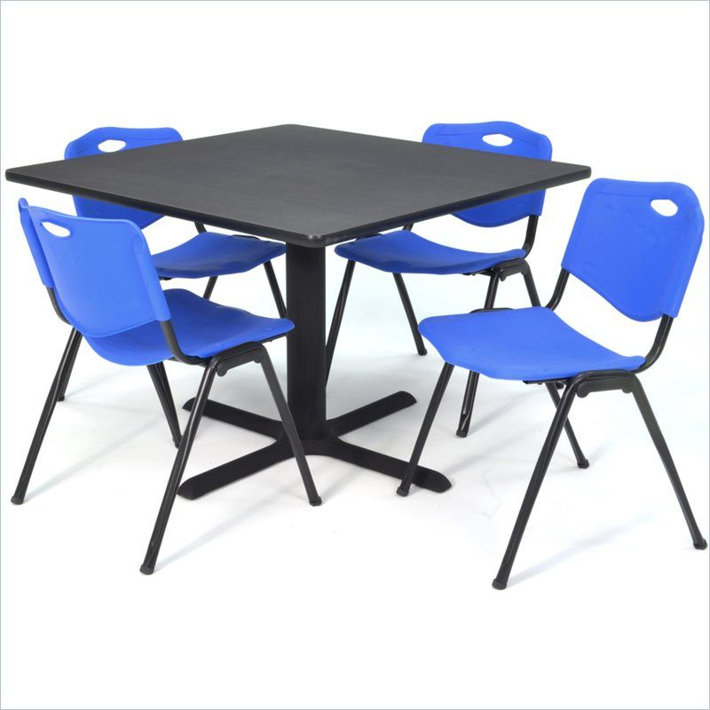 Regency Square Lunchroom Table And 4 Blue M Stack Chairs Intended For Most Current Mode Square Breakroom Tables (View 5 of 15)