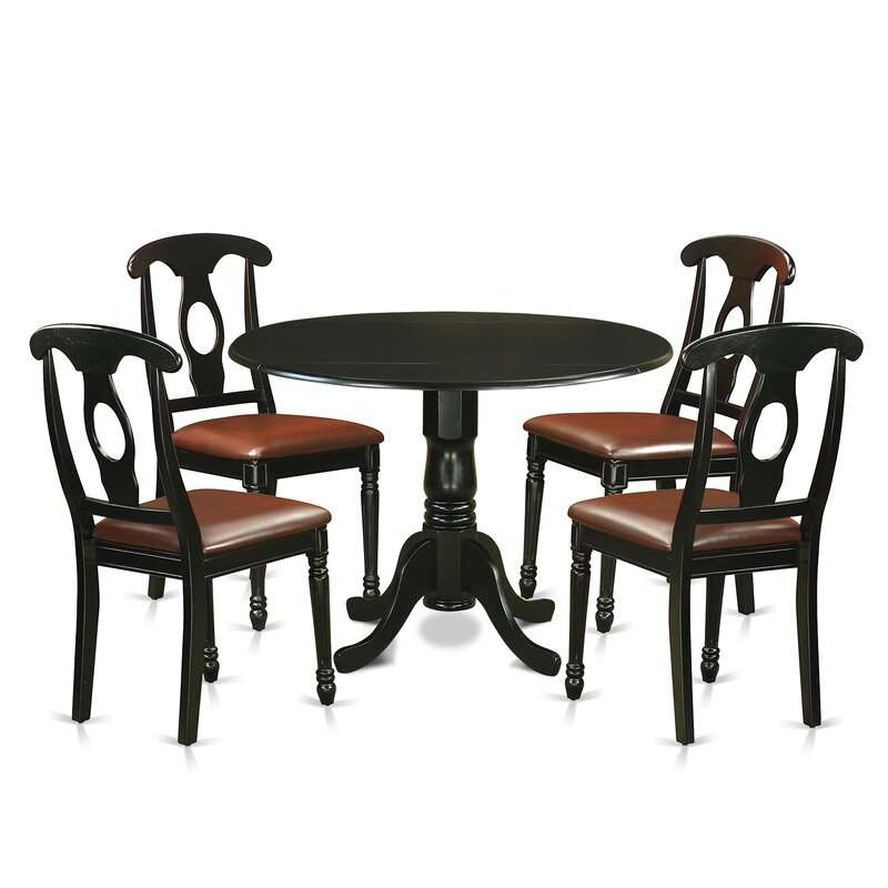 Review Spruill Drop Leaf Solid Wood Dining Set 5 Piece Inside Current Villani Drop Leaf Rubberwood Solid Wood Pedestal Dining Tables (Photo 6 of 15)