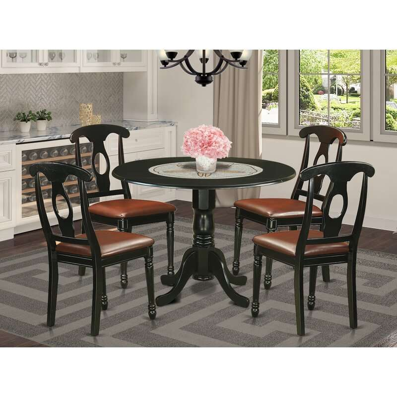 Review Spruill Drop Leaf Solid Wood Dining Set 5 Piece Throughout Most Up To Date Villani Drop Leaf Rubberwood Solid Wood Pedestal Dining Tables (View 5 of 15)