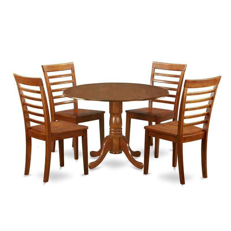Review Spruill Drop Leaf Solid Wood Dining Set 5 Piece With Regard To Most Recently Released Villani Drop Leaf Rubberwood Solid Wood Pedestal Dining Tables (View 9 of 15)