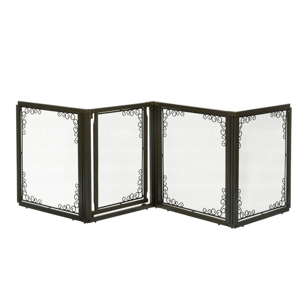 Richell Convertible Elite Mesh 4 Panels Brown Pet Gate Throughout Most Recently Released Fromm  (View 6 of 8)