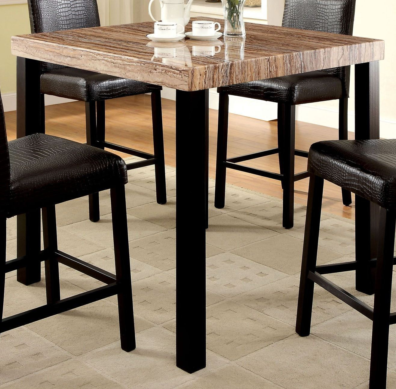 Rockham Ii Black Faux Marble Top Square Counter Height Leg Within Current Desloge Counter Height Trestle Dining Tables (View 4 of 15)