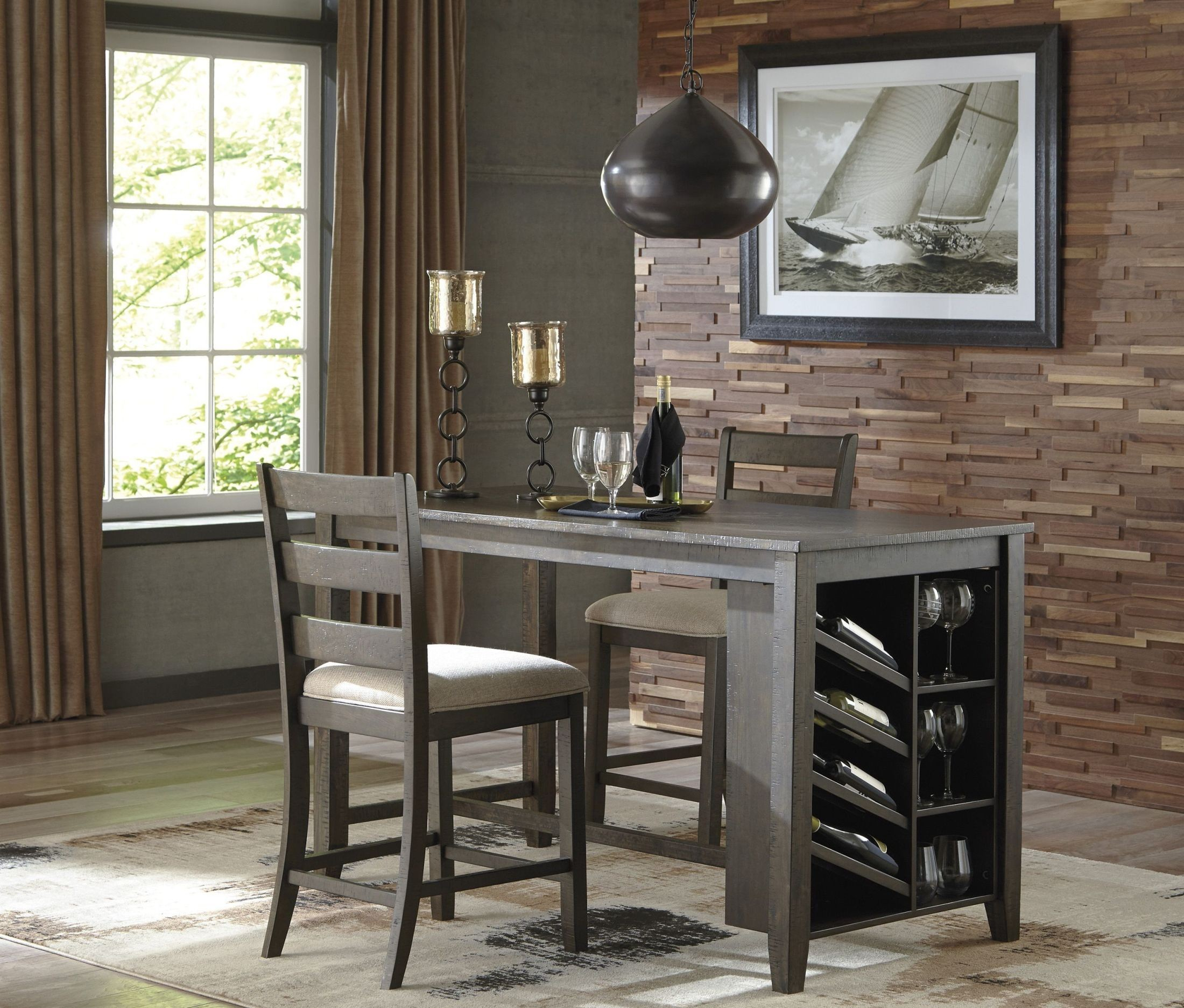 Rokane Light Brown Rectangular Counter Height Dining Table For Latest Dankrad Bar Height Dining Tables (View 15 of 15)