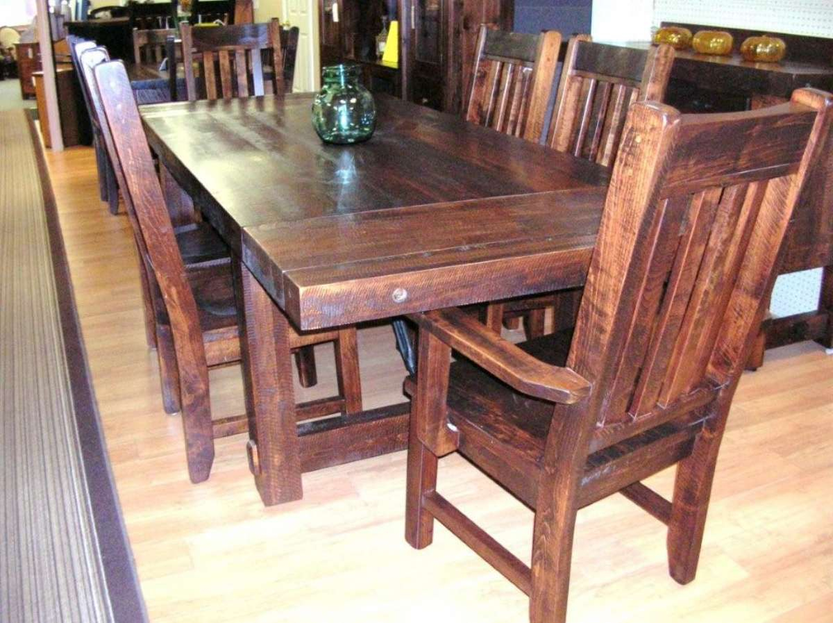 Rough Sawn Wormy Maple Yukon Turnbuckle 7 Piece Table Set With Regard To Recent Drake Maple Solid Wood Dining Tables (View 8 of 15)
