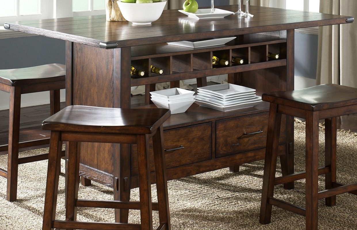 Round Counter Height Dining Table With Wine Storage Base Regarding Recent Nakano Counter Height Pedestal Dining Tables (View 10 of 15)