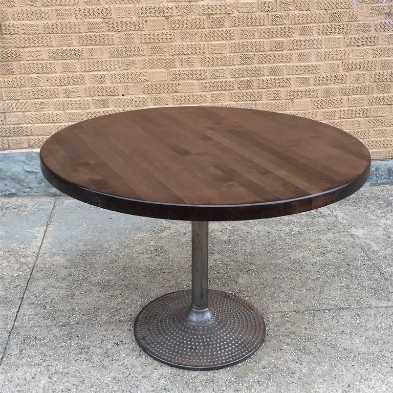 Round Ebonized Maple And Cast Iron Industrial Dining Table Intended For Most Current Dellaney 35'' Iron Dining Tables (View 13 of 15)