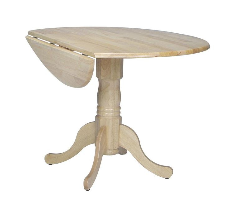 Featured Image of Boothby Drop Leaf Rubberwood Solid Wood Pedestal Dining Tables