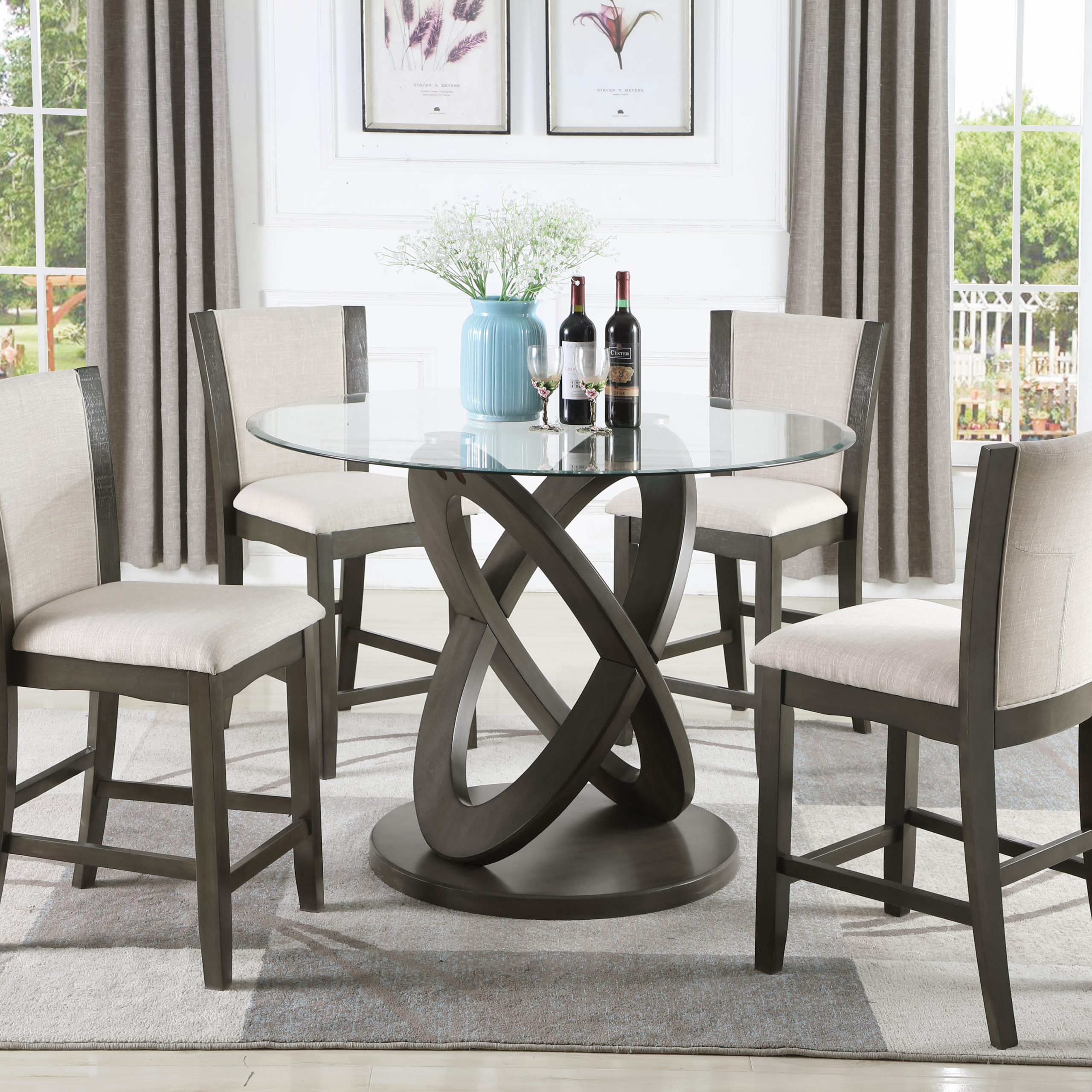 Roundhill Cicicol 5 Piece Glass Top Counter Height Dining Regarding Most Current Tudor City 28'' Dining Tables (Photo 12 of 15)