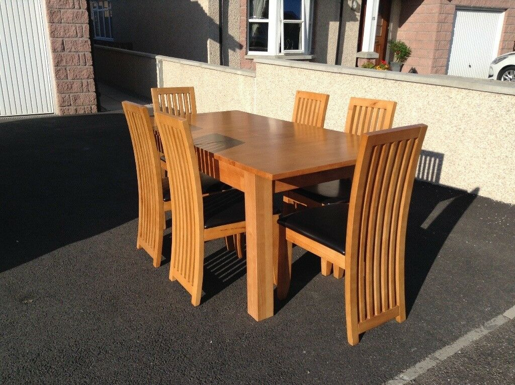 Rubber Wood Dining Table And Six Chairs | In Keith, Moray In Best And Newest Villani Drop Leaf Rubberwood Solid Wood Pedestal Dining Tables (View 13 of 15)