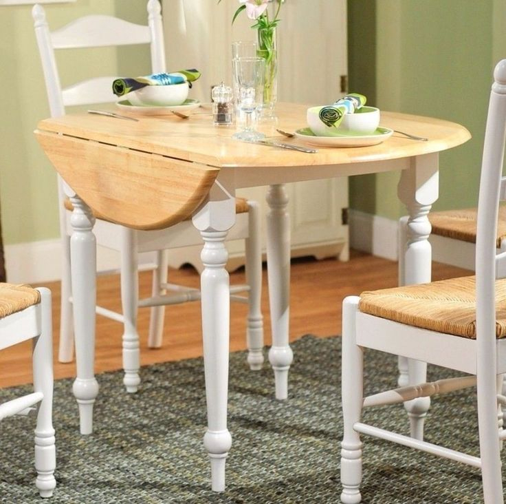 Rubberwood 40 Inch Diameter Round Drop Leaf Table Home Intended For Most Up To Date Villani Drop Leaf Rubberwood Solid Wood Pedestal Dining Tables (View 15 of 15)