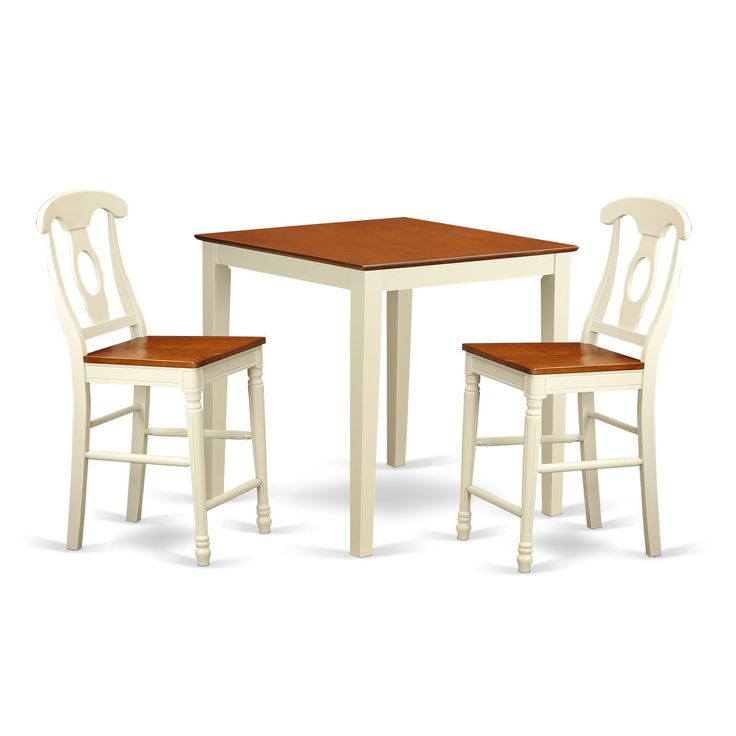 Rubberwood Three Piece Counter Height Pub Set (Buttermilk In 2018 Wes Counter Height Rubberwood Solid Wood Dining Tables (View 13 of 15)